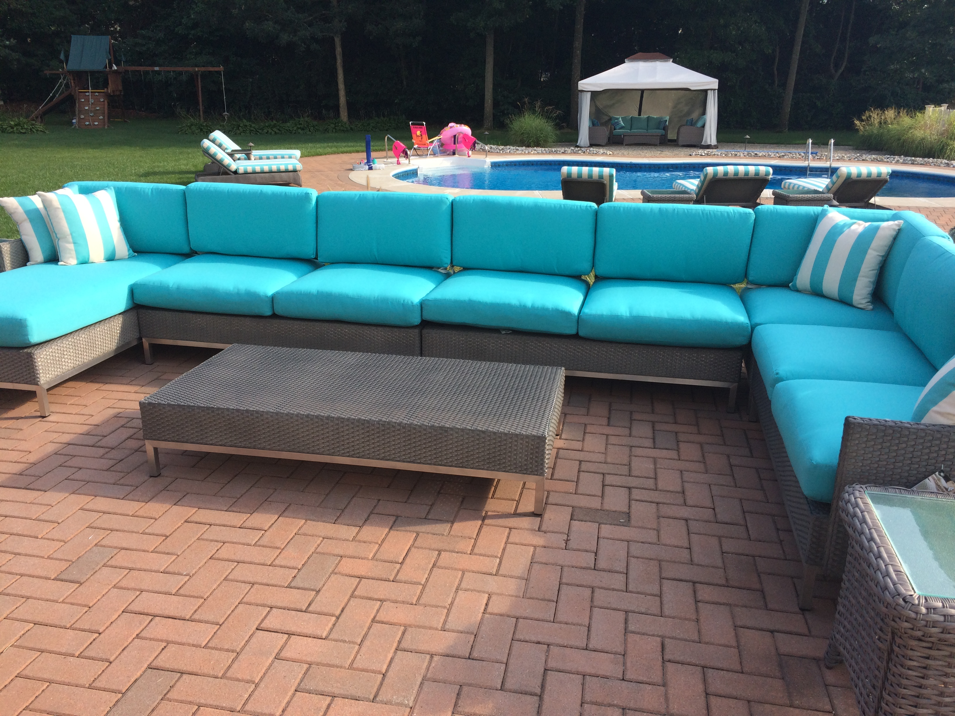 Grand isle sectional cedar ridge fire pit table seabreeze at lacey forked river nj