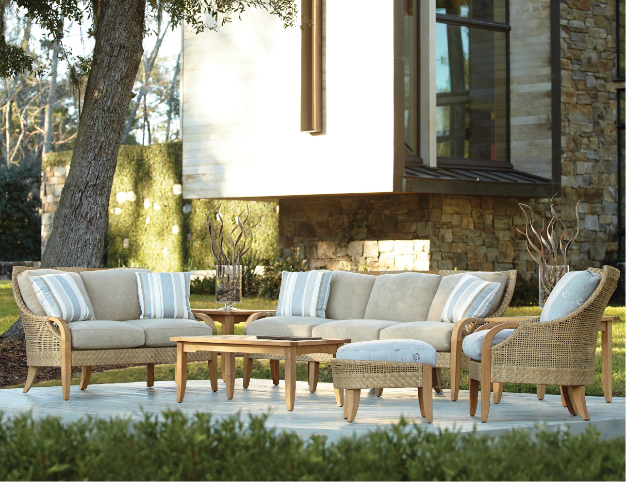 Edgewood By Lane Venture Teak Wicker Outdoor Furniture