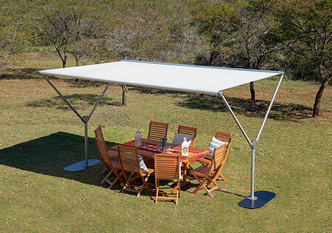 Sky By Woodline Shade Solutions Dual Post Parasol The