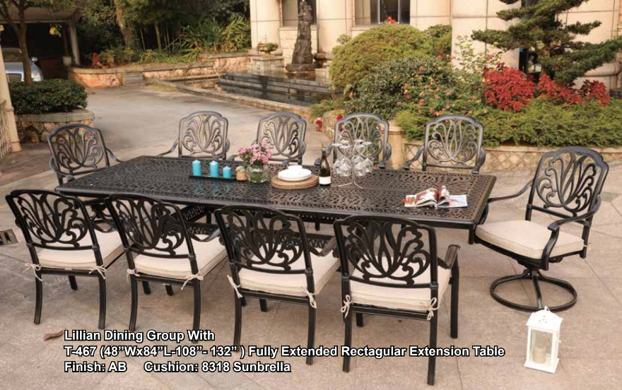 Lillian 10 Seat Dining Group Extension Table The Wickery Aluminum Dining Table New Jersey
